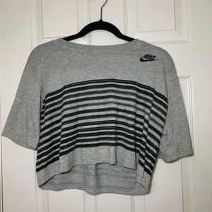this is a gray Nike crop top.